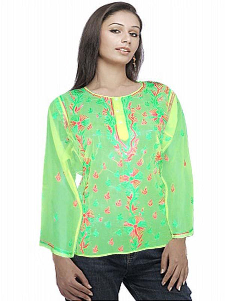 Green Embroidered Georgette Top