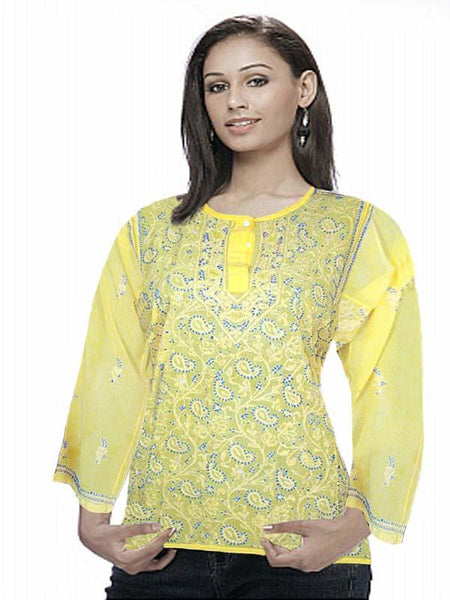 Yellow Embroidered Georgette Top