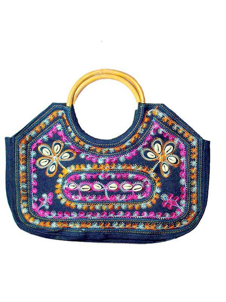 Embroded Blue Handbag