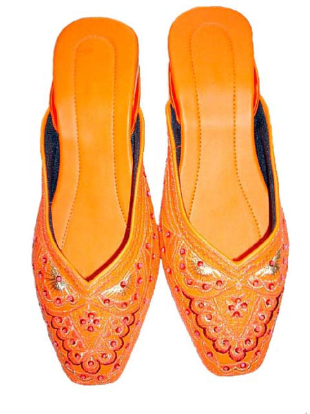 Orange Beaded Jutti