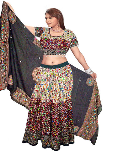 off white & Black Designer Lehnga-Choli