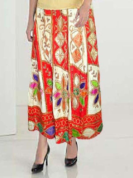 Red Antique Cloth Batik Skirt
