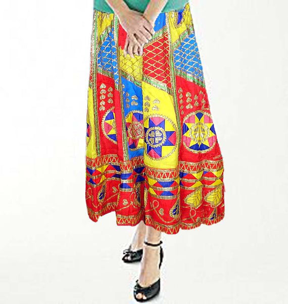 Multi Antique Cloth Batik Skirt