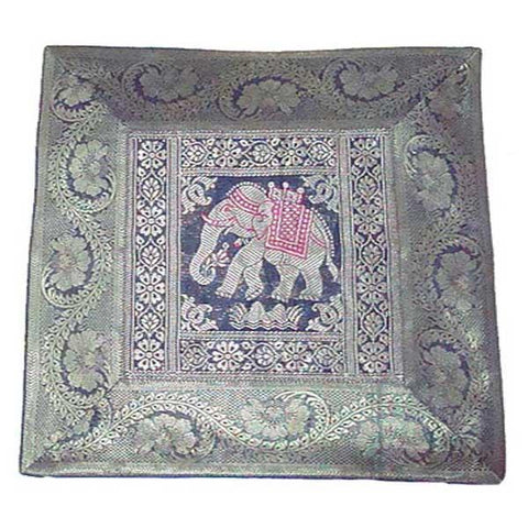 Grey & Blue Banarasi Silk Cushion Cover
