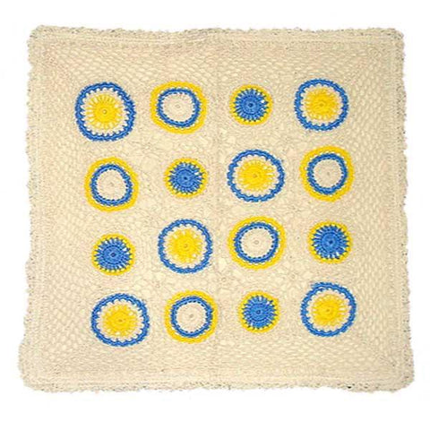 Off white & Blue Crochet Embroidered Cushion Cover