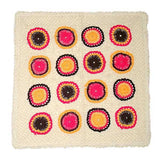 Off white & Pink Crochet Embroidered Cushion Cover