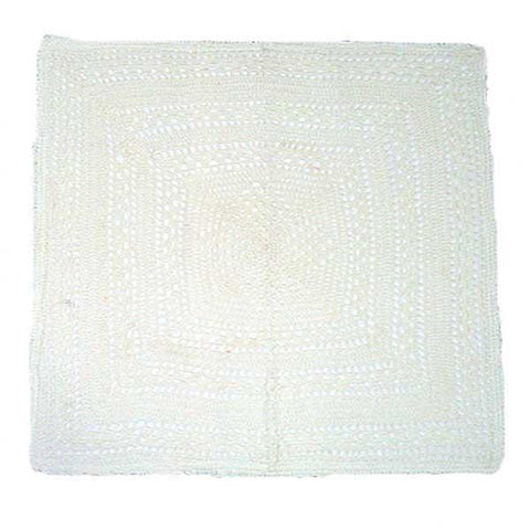 White Crochet Embroidered Cushion Cover