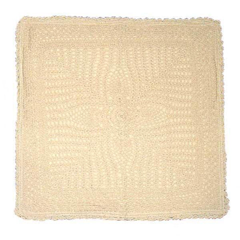Off White Crochet Embroidered Cushion Cover