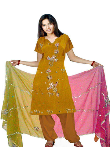Brown Pure Silk Sharara Dress