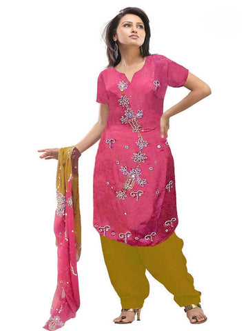 Pink & Brown Pure Silk Sharara Dress