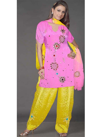 Pink & Yellow Pure Silk Sharara Dress
