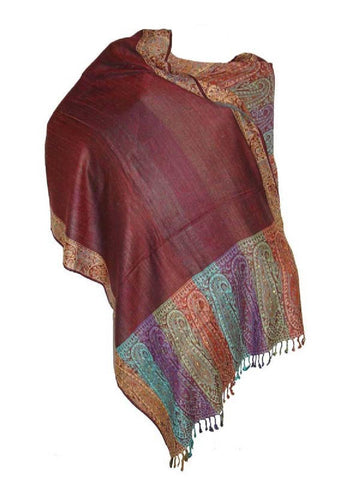 BrownBeaded Viscose Shawl