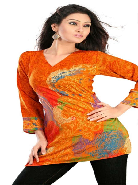 Orange Gold Printed Kurti