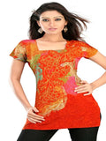 Red Gold Printed Kurti