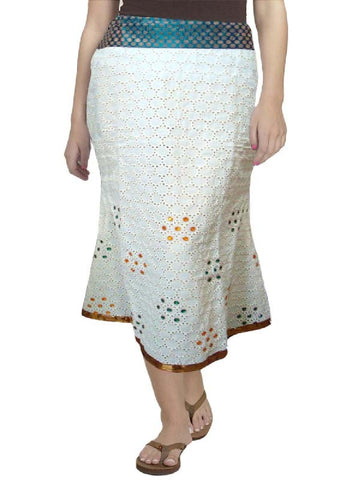 Off White Hakoba Stone Embroidered Skirt