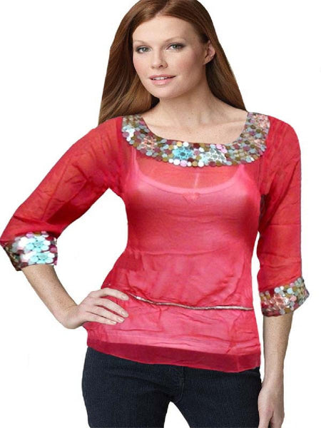 Red Foil Mirror Embroidered Top