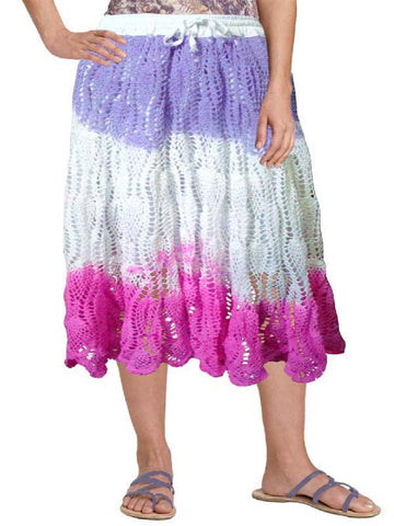 Tie and Dye White Crochet Embroidered Skirt
