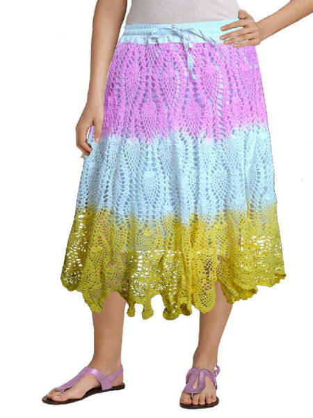 Tie and Dye Pink Crochet Embroidered Skirt