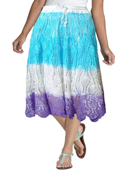 Tie and Dye Sky Blue Crochet Embroidered Skirt