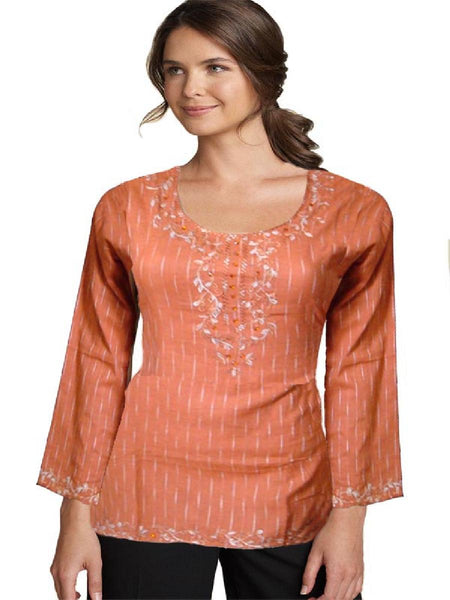 Orange Designer Embllished Kurti