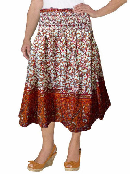 Cotton Printed Brown Designer  Skirt