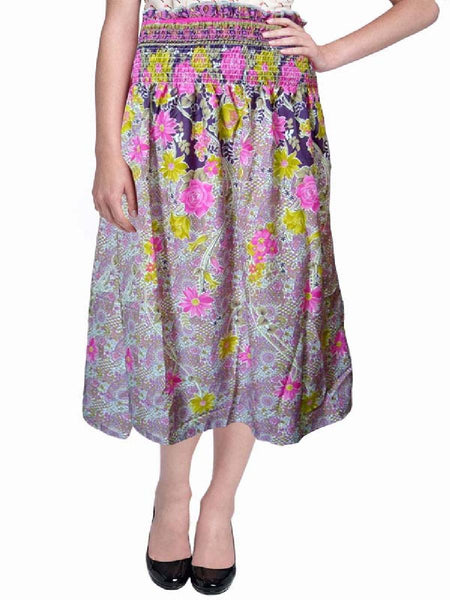 Cotton Printed Pink Designer  Skirt