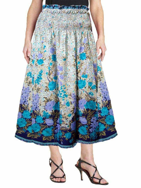 Cotton Printed Blue Designer  Skirt