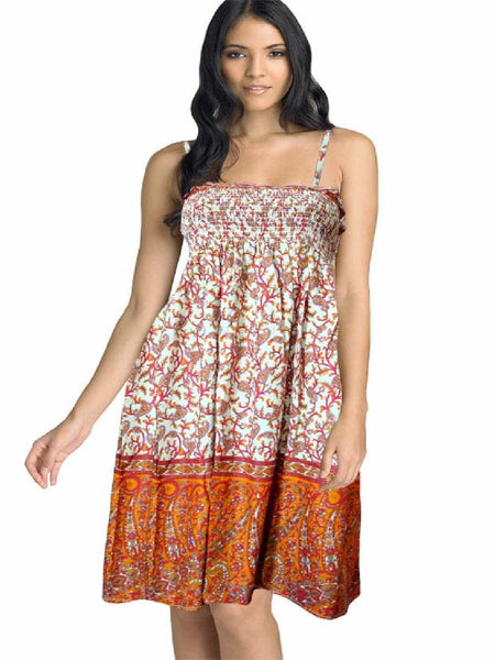 Cotton Printed Orange Designer Dress