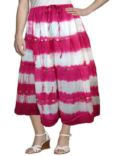 Cotton Cambric Pink & White Tie Dye Skirt