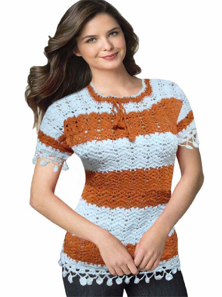 White & Brown Traditional Crochet Embroidered Top