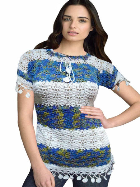Traditional Crochet White & Blue Embroidered Top