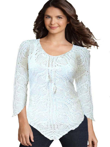 White Traditional Crochet Embroidered Top