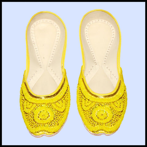 Yellow Beaded Jutti