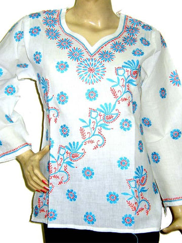 Blue Emb. Cotton Kurti