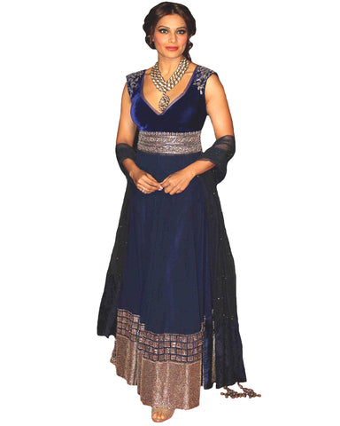 Bollywood Bipasa Basu in Navy Color Long Dress