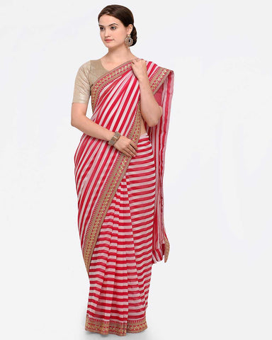 Sugathari Pink & White Poly Georgette Printed Saree