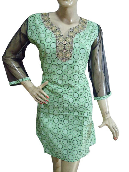 Green Cotton Printed Designer Top
