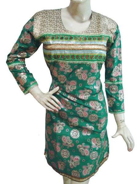 Green Designer Embllished Kurti