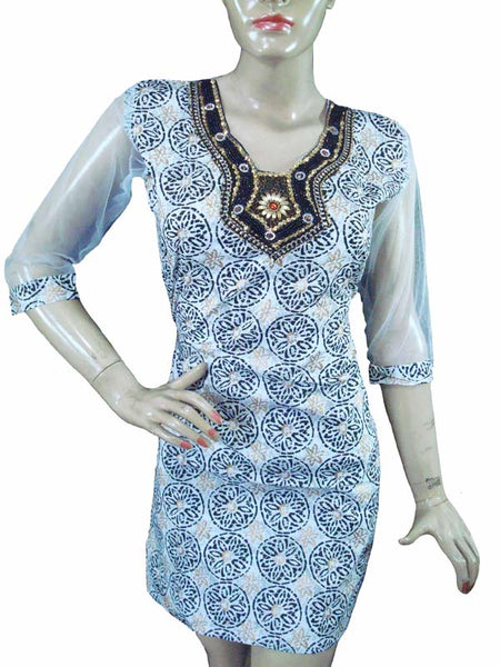 Designer White and Black Kurti