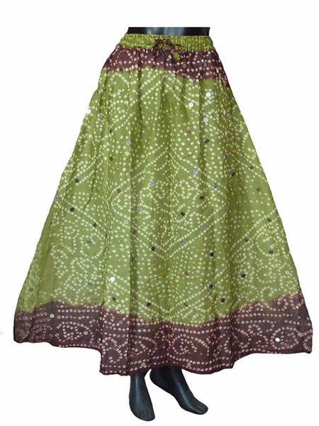 Green Bandhej Skirt