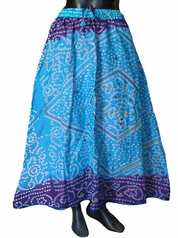 Blue & Syan Bandhej Skirt