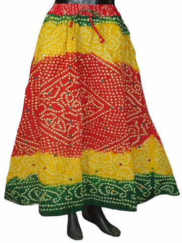 Yellow Bandhej Skirt