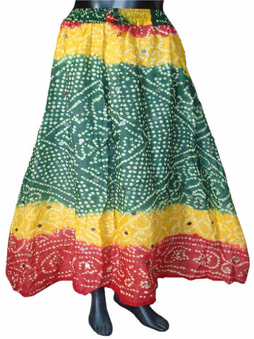 Yellow & Green Bandhej Skirt