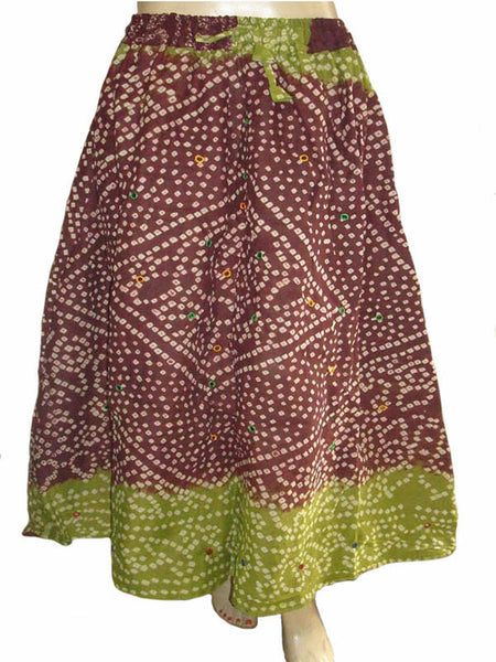 Bandhej Brown Skirt