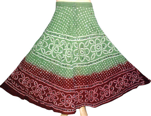 Green Bandini ombre dyed skirt