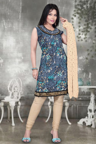 Grey Abstract Print Kurti