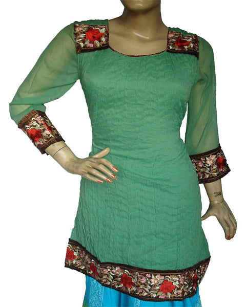 Green Crushed kurti