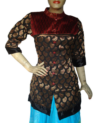 Black Golden Brocade Kurti