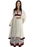Deepika White Long frock suit