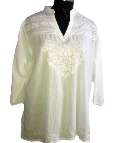 Cream Band Neck Top